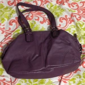 Coach Leather Bag with Scarf